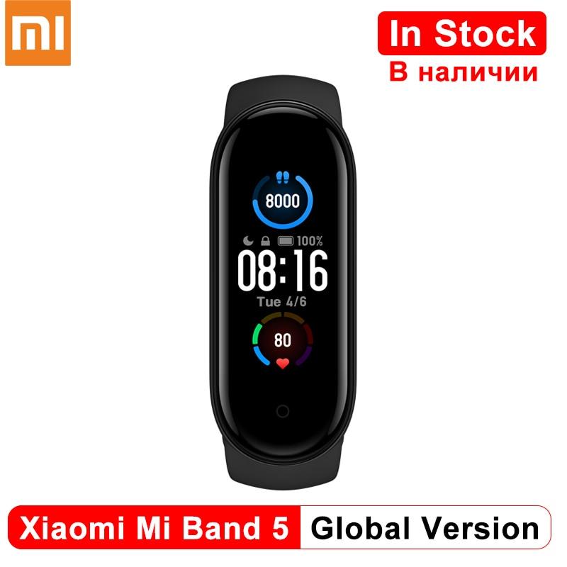 В наличии умный Браслет Xiaomi Mi Band 5 глобальная версия Фитнес браслет монитор сердечного ритма Mi 5 спортивный смарт-браслет Redmi airdots 3 наушники 1