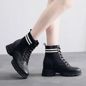 Image 2 - SWYIVY Martin Boots Women Knitting Sock Shoes Sneakers Platform New 2019 Female Casausl Shoes White/black Ankle Boots For Women