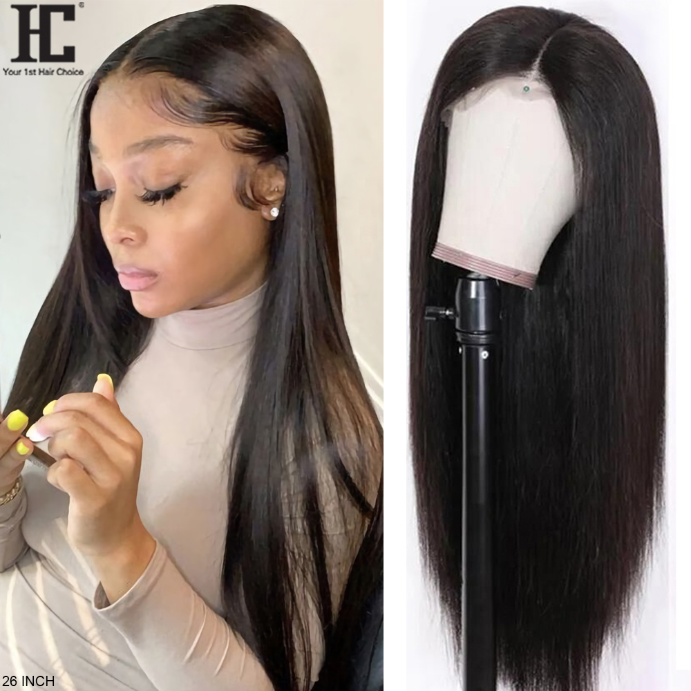 Lace Part Wig Brazilian Straight Human Hair Wigs Glueless 150% Pre Plucked Swiss Lace Remy Straight Wig With Baby Hair Deep Part
