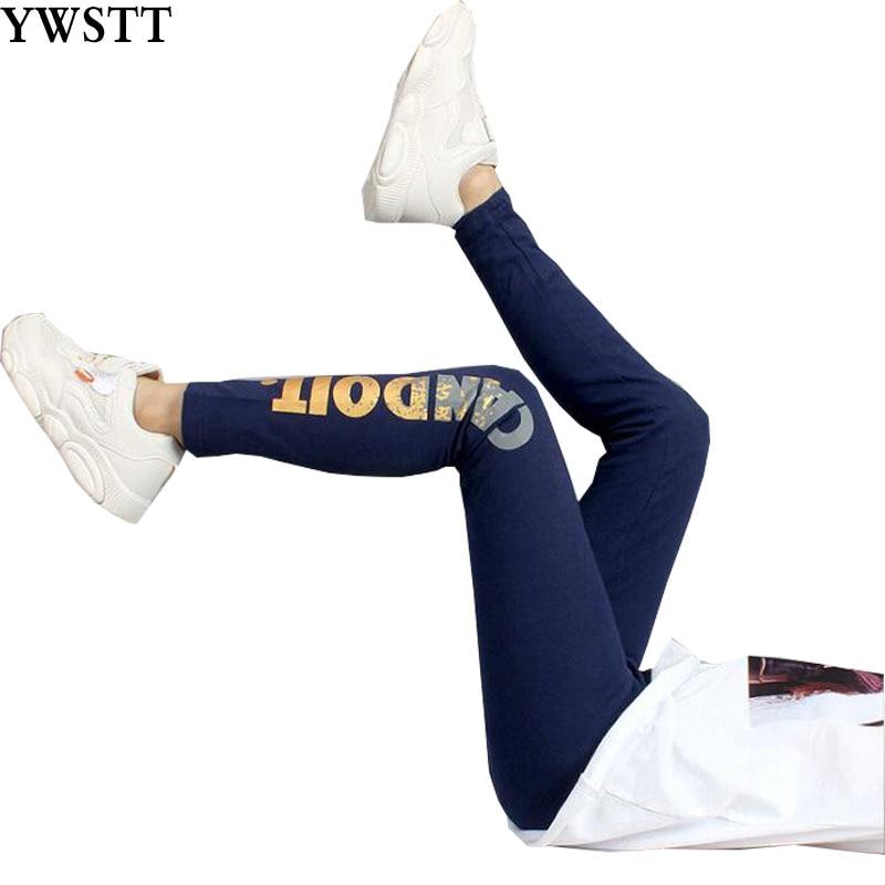 Girls Sport Leggings 2020 New Teenage Girls Cotton Pant Golden Print Black Kids Sport Trousers Spring Fall Students Bottoms