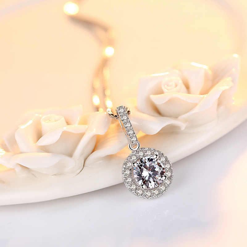 فضي اللون الاسترليني S925 قلادة VVS1 الماس 2 قيراط قلادة للنساء الزفاف الأبيض توباز الأحجار الكريمة الطبيعية النقية المعلقات