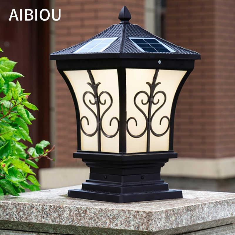 aibiou solar waterproof landscape lightins modern aluminium die casting pillar lamp outdoor main gate stigma lighting