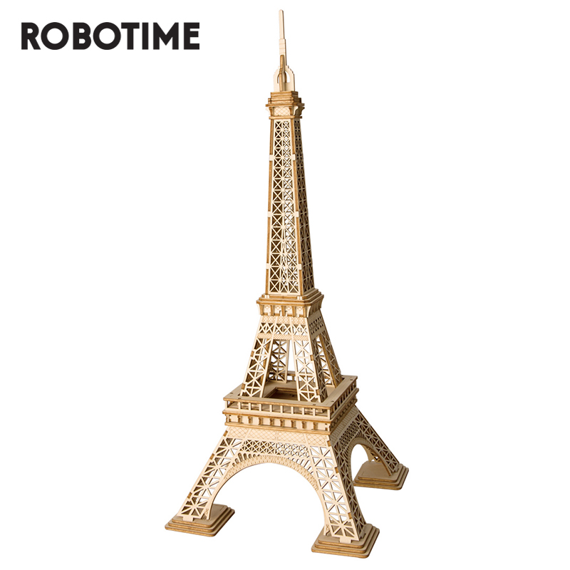 Robotime 3D Wooden Puzzle Eiffel Tower Assembly Model Wood Desk Decor Toys For Children TG501 Drop Shipping Wholesale