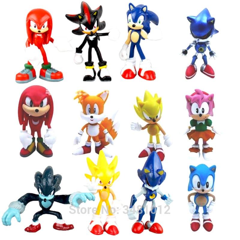 Sonic World Adventure Metal Sonic Werehog Tails PVC Action Figures Shadow Knuckles Anime Figurines Dolls Kids Children Toys Set