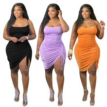 Lastest Women Summer Party Dress Sexy Spaghetti Strap Clubwear Dress Plus Size Sleeveless Drawstring Bodycon Dresses 2021