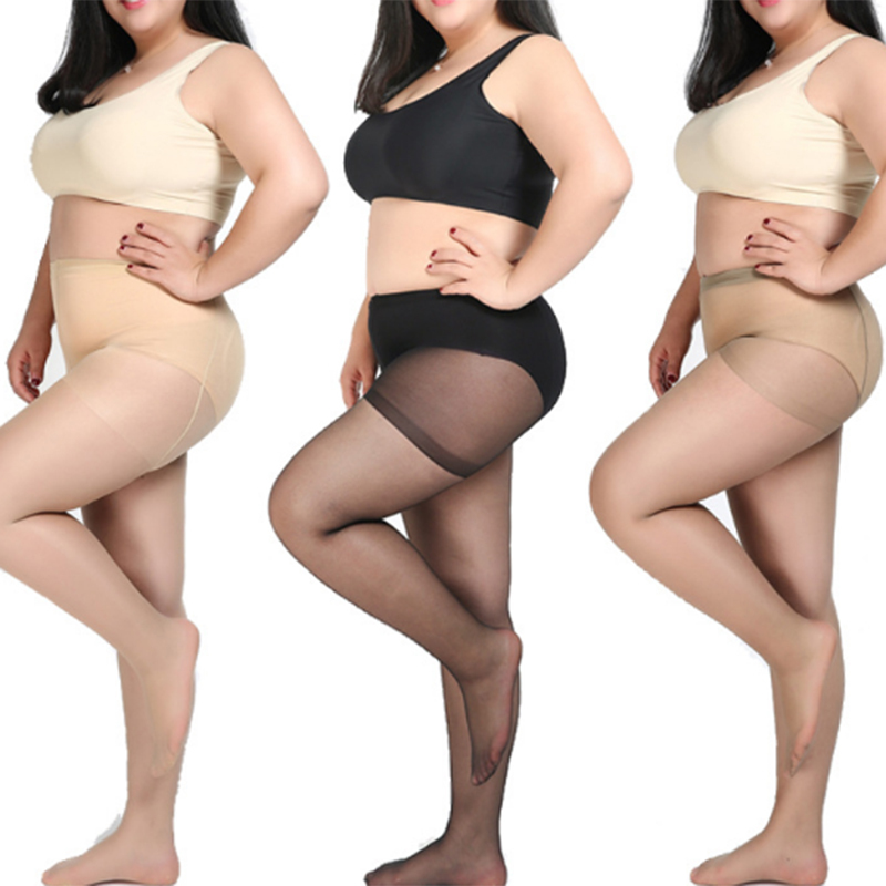 Summer Autumn Thin Large Size Tights Anti-hook Tear Resistant Super Elastic Magical T Crotch Women Seamless Pantyhose Plus Size