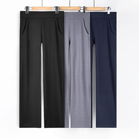 2020 Spring And Autumn Wild High Waist Wide Leg Sports Casual Pants Female Straight Was Thin Elastic Comfortable Knit Trousers