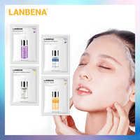 4PCS LANBENA Hyaluronic Acid Serum Face Mask+24K Gold Six Peptides+Vitamin C+Blueberry Anti-Wrinkles Facial Sheet Mask Face Care