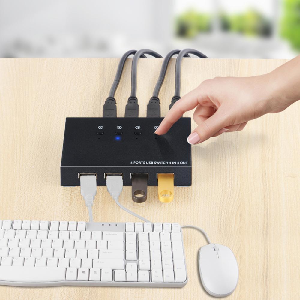 Usb switch kvm caixa de interruptor 4 usb2.0 switcher compartilhamento do computador divisor para teclado mouse com 4 cabos usb suporte dropshipping|Comutadores KVM|   -
