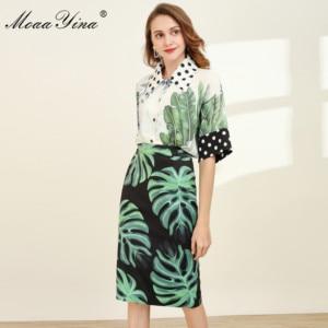 Image 2 - MoaaYina Fashion Designer Set Spring Women Half sleeve Shirt Tops+Green leaf Print Package buttocks Skirt Elegant Two piece set