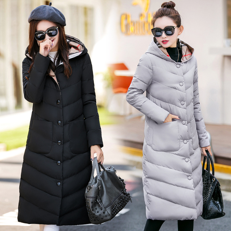 Autumn & Winter Cotton Coat New Style Korean-style Large Size Long Over-the-Knee Cotton-padded Clothes Women's Thick Slim Fit Ho