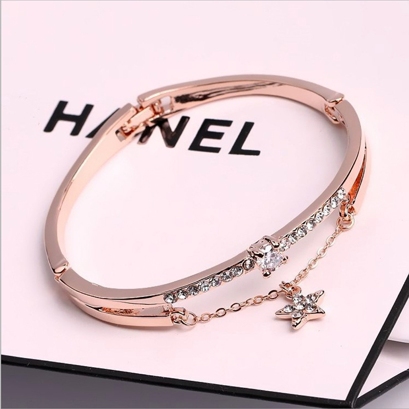 CUTEECO-2019-New-Rose-Gold-Luxury-Female-Bangle-Bracelet-Pentagram-Forever-Love-Zircon-Bracelets-Charm-For (3)