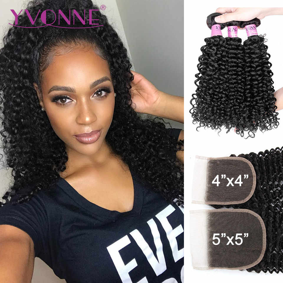 Yvonne 3C 4A Malaysian Curly Hair Bundles With Closure 3 Bundles Virgin Human Hair With Free Part Lace Closure 4x4/5x5