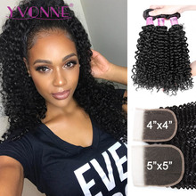 Yvonne 3C 4A Malaysian Curly Hair Bundles With Closure 3 Bundles Virgin Human Hair With Free Part Lace Closure 4×4/5×5