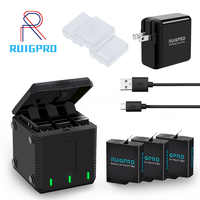 3-weg slot Batterie Ladegerät LED Lade Box Tragen Fall Batterie Gehäuse für GoPro Hero 8 7 6 5 schwarz Zubehör Batterie Fall
