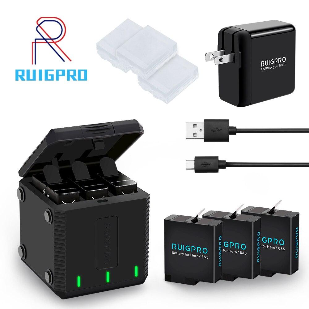 Cargador de batería con ranura de 3 vías, caja de carga LED, carcasa de batería para GoPro Hero 8 7 6 5, Accesorios Negros, funda de batería
