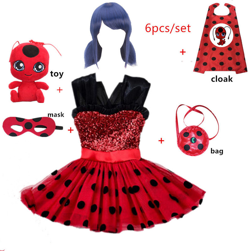 Carnival Marinette Ladybug cosplay Summer Girls Dress Halloween Costume Lady bug Party Dress Lace Dot Baby princess dress