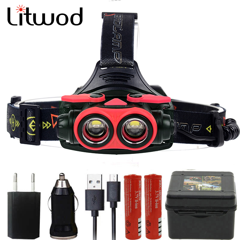 Litwod Z307305A 16000LM LED Headlamp XM-L2 U3 4 Modes Rechargeable Headlight Head Lamp Spotlight Head Light 2* 18650 Battery