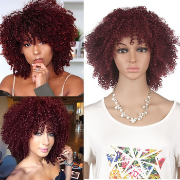 Burgundy/Purple Short Afro Curly Hair Synthetic Wig With Bangs Heat Resistant Fiber Synthetic Kinky Curly Wigs For Woman europe style heat resistant synthetic fashion black short kinky curly afro wig for women