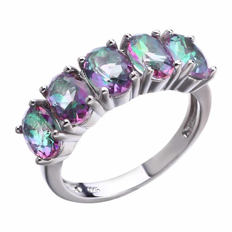 Wukalo טבעי בוהמיה סגנון אטרקטיבי עיצוב תכשיטים סגול AAA קריסטל 925 טבעת כסף סיטונאי DropShipping