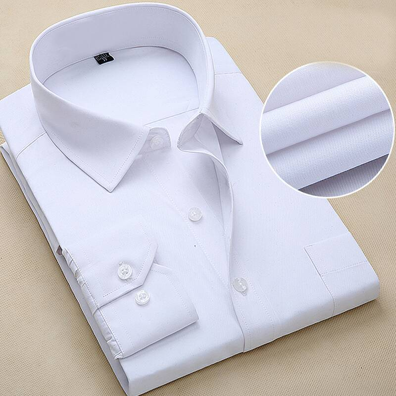 Cotton High Grade Work Clothes Business Wear Men's Long Sleeve Shirt Solid Blue White Slim Fit Korean Style Large Size N5270