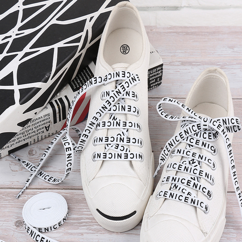 1 Pair Printing Letter Shoelaces New Design Street Printed Flat Shoe Lace Length Canvas Sneakers Elastic Shoelaces White Black
