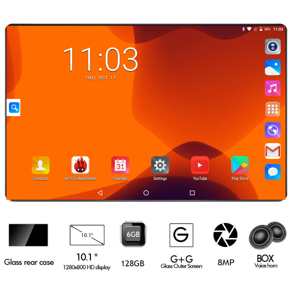 Metal Cover 10 Inch Octa Core 3G 4G FDD LTE Tablet 6GB RAM 128GB ROM 1280*800 Dual Cameras 8.0MP Google Android 8.0 OS GPS