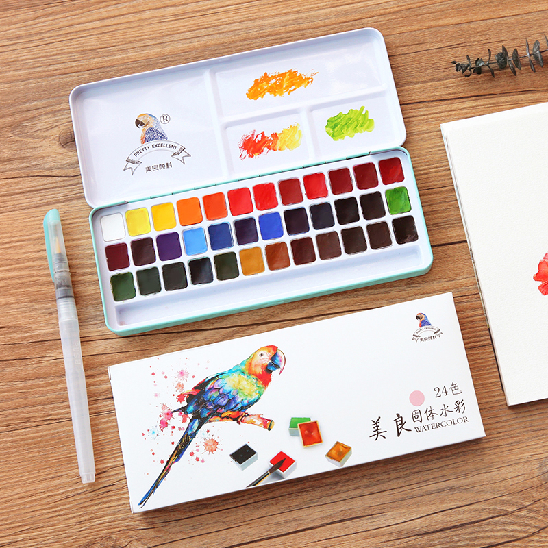 MeiLiang Watercolor Paint Set Metal Box With Water Color Brush Pen Perfect For Students Kids Acuarelas Oil Paint Art Supplies