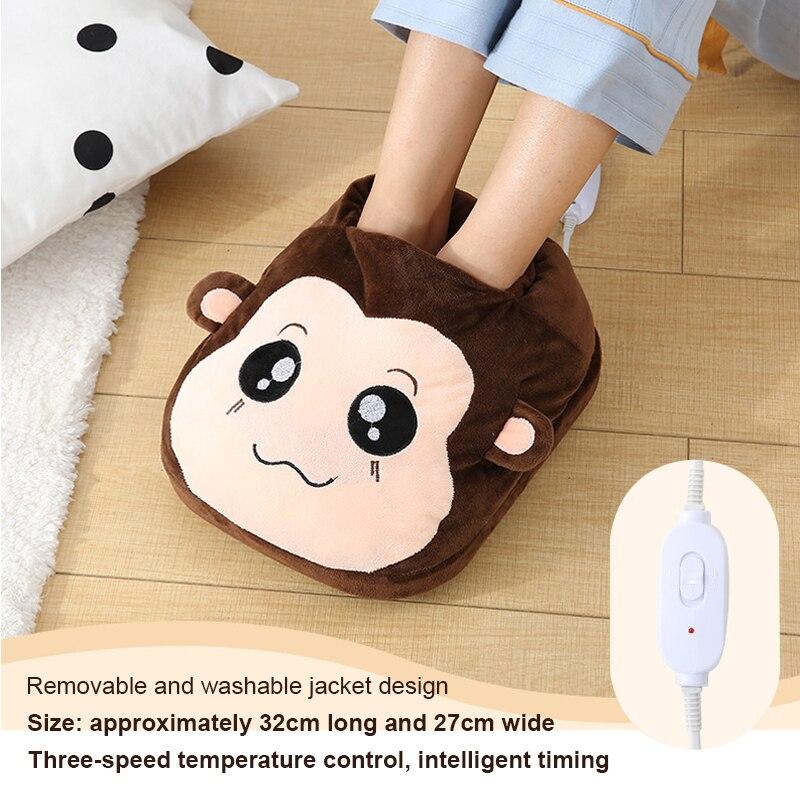 Электрический теплый коврик для ног 220 В, грелка для ног, теплые электрические тепловые тапочки, теплая пушистая подушка для ног Электрические грелки      АлиЭкспресс