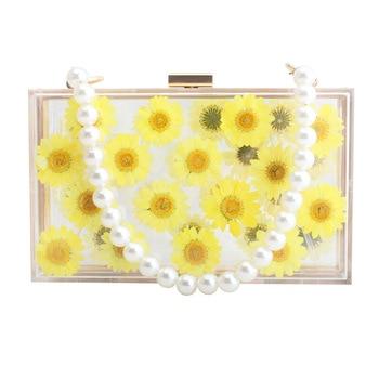 18x11CM 2020 Summer New Transparent Acrylic Flowers Flap Bag Banquet Ladies Shoulder Bag Messenger Bags A6136