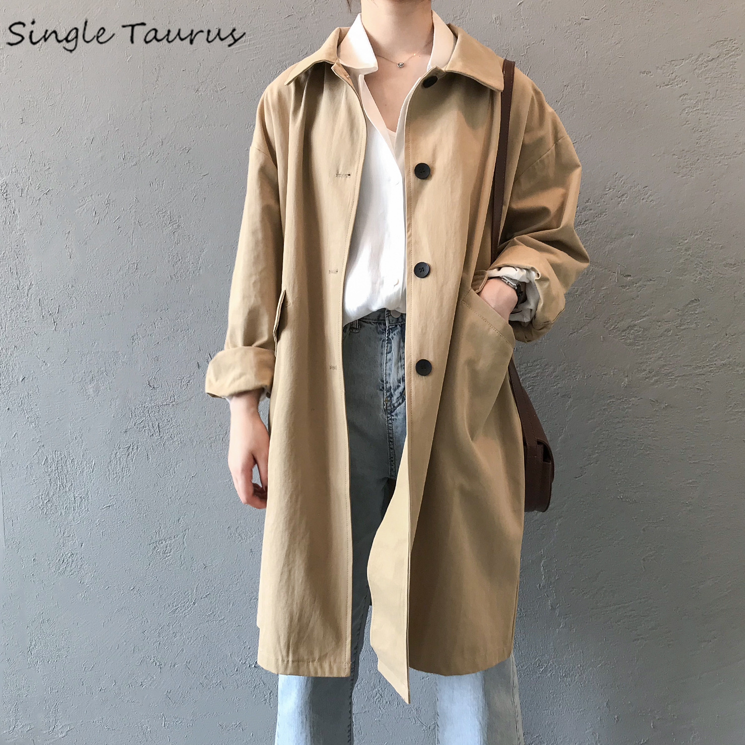 Fall   Trench   Women Loose England Twotwinstyle Ropa Mujer Fashion Streetwear Office Lady Causal Khaki Long Coat Sobretudo Feminino