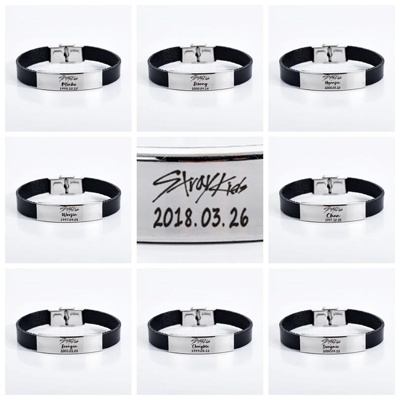Kpop Stray Kids Bracelet Bangles Birthday Name Signature Series Stainless Steel Engraved Bracelet 2019 New Korean Fashion Style