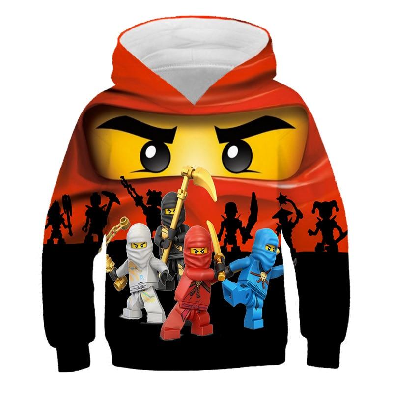 4-14 Years Baby Girl Hoodie Boys Sweatshirt The streets of harajuku Ninjagoes Hoodies Legoes Clothes Cartoon Children Jumpers 1