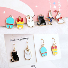 10pcs diy handmade jewelry accessories alloy dripping fun alice rabbit cat earrings pendant material