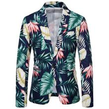 Casual Blazers Men Suits Slim fit Floral Mens Blazer Jacket Single Button Suit Hawaiian style New color block double button mens casual blazer