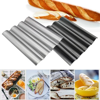 Nonstick Perforated French Bread Pan Loaf Bake Mold Toast Cooking  Molding Toaster Pan Cloche Waves Silver Steel Tray #25 недорого
