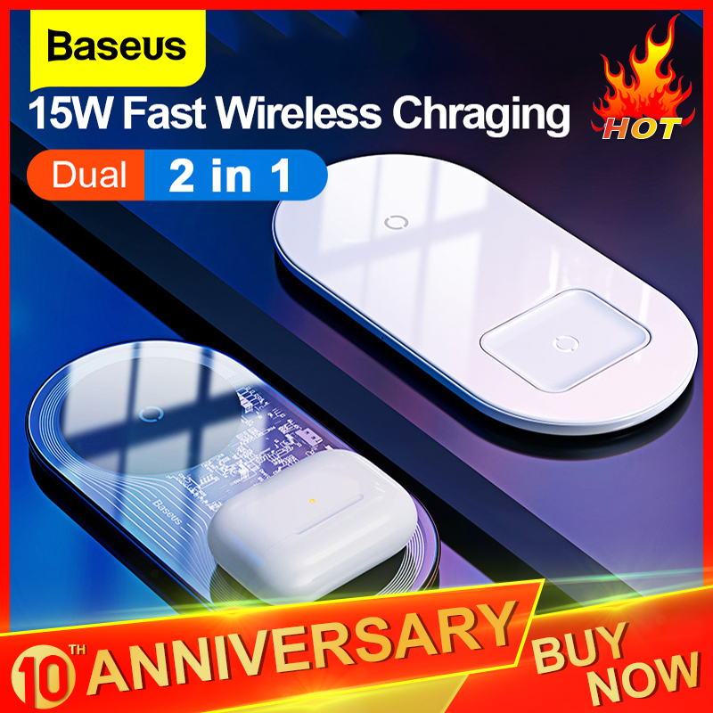 Baseus Qi Wireless Charger For Airpods IPhone 11 Pro Xiaomi Mi 10 Dual 15W Fast Charging Pad For Samsung S20+ Induction Charger