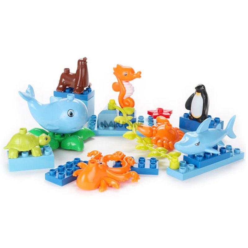 MARUMINE 8PCS Classic Block Animal Building Bricks Whale Penguin Shark Octopus Tortoise Ocean Education Toys for Children