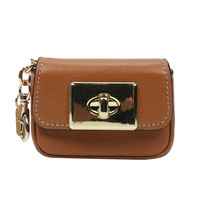 Genuine leather small wallet lock wrist purse key bag for women