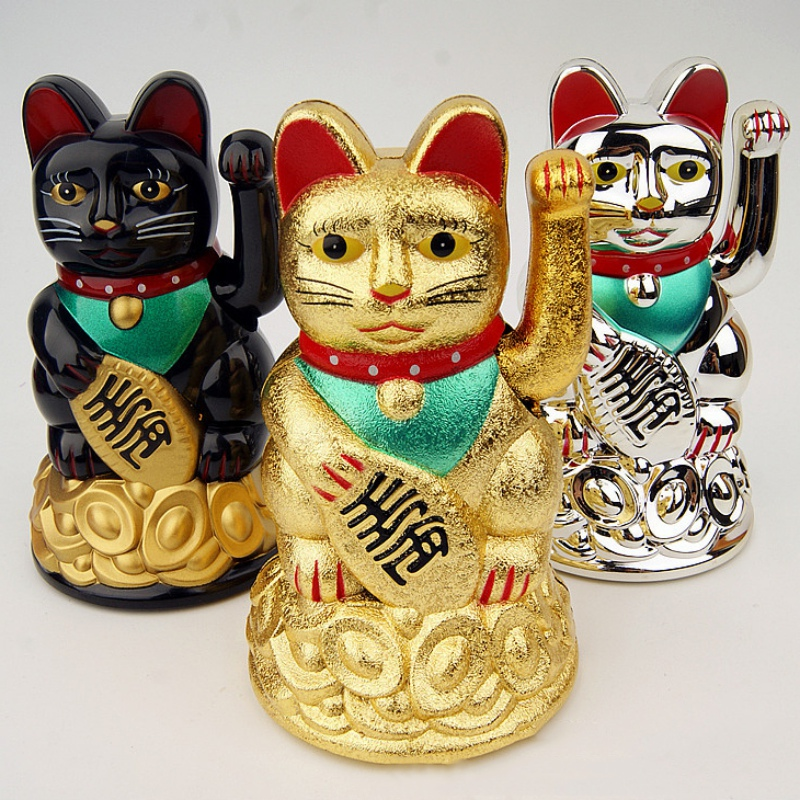 1Piece Chinese Lucky Wealth Gold Maneki Neko Cute Lucky Waving Cat Electric Craft Art Welcome Cat Home Shop Hotel Decor