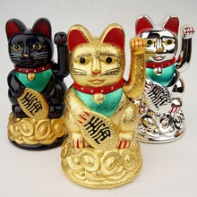 1Piece Chinese Lucky Wealth Gold Maneki Neko Cute Waving Cat Electric Craft Art Welcome Home Shop Hotel Decor