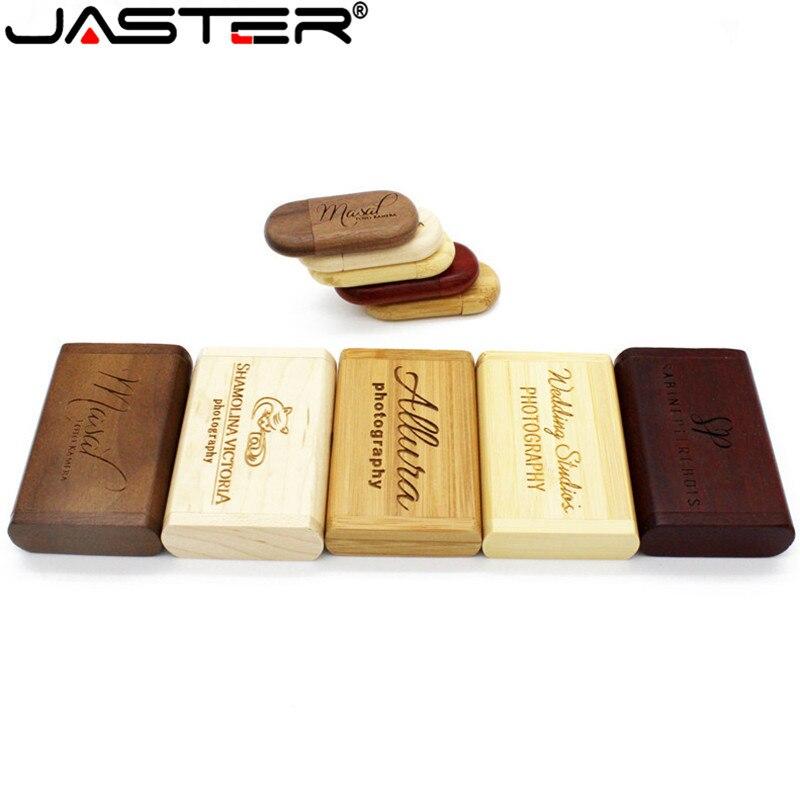 JASTER Engrave Walunt Wood Maple Wood Wooden +box LOGO Print Usb Flash Drive Usb2.0 4GB 8GB 16GB 32GB 64GB Photography Gift