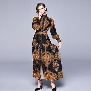 Image 4 - Banulin Autumn Runway Winter Long Dresses 2020 Women Lantern Sleeve Vintage Floral Print Casual Maxi Dress Robe Longue Femme ete