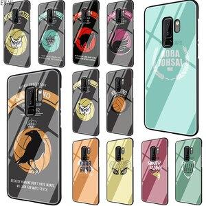 Vamos lá, haikyuu! Karasuno Nekoma Crista caixa do telefone de Vidro Temperado para Samsung S7 S8 S9 S10 Nota 8 9 10 plus A10 20 30 40 50 60 70