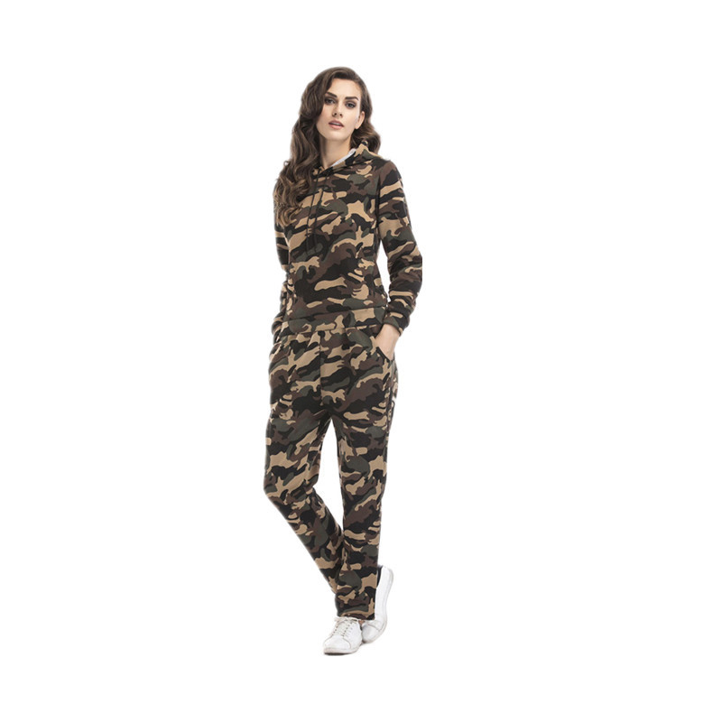 2020 Autumn And Winter New Style WOMEN'S Suit Camouflage Plus Velvet Hoodie + Trousers Sports Casual Two-Piece Set