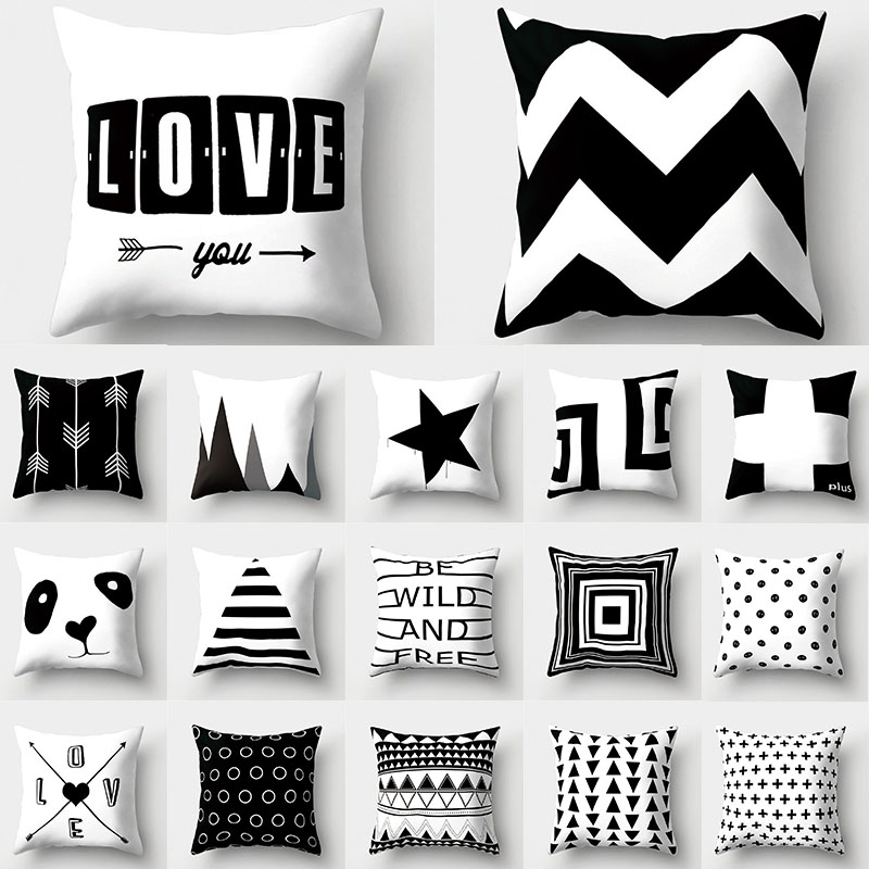 Capa de almofada geométrica branca preta 45x45 fronha sofá almofadas decorativas fronhas poliéster decoração para casa fronhas
