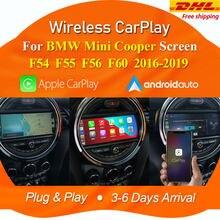 Apple sem fio carplay android decodificador automático para bmw mini cooper f54 f55 f56 f60 2014-2018 nbt sistema tela suporte câmera traseira