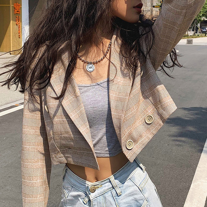 Hot 2019 autumn new women's long-sleeved notched collar one button cardigan Slim wild fashion small suit coat