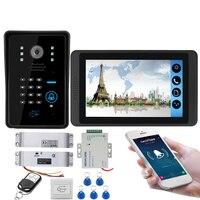 APP בקרת וידאו אינטרקום 7 אינץ Wifi אלחוטי וידאו דלת טלפון פעמון אינטרקום RFID סיסמא מצלמה מערכת + דלת פתיחה מנעול