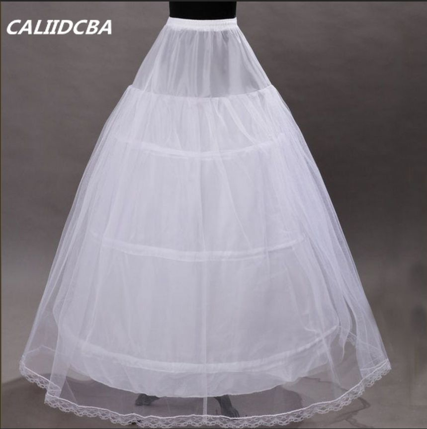 White/Black 3 Hoops 1 Layer Bridal Petticoat Lace Trim Underskirt Crinoline Slip Petticoat For Wedding Dress Prom Bridal Gown